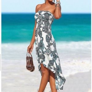 Strapless print dress